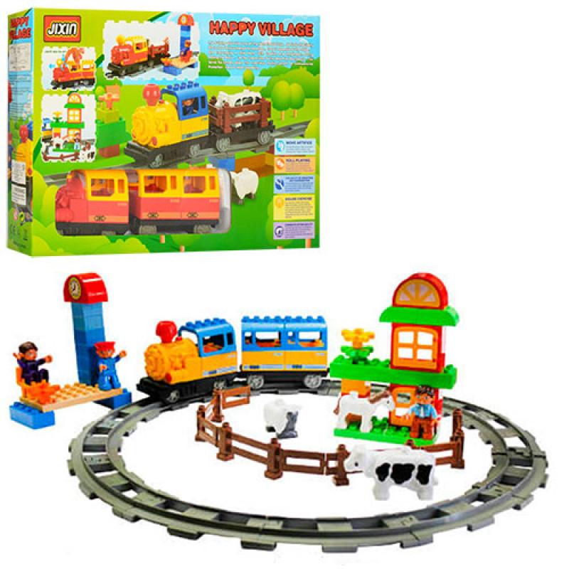 Конструктор Железная дорога, ферма, музыка, свет, животные 3шт, 60дет., M0439U/R/6188C