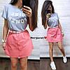 Костюм двойка женский модный летний футболка с надписью и юбка с поясом и карманами Kmk1058