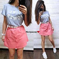 Костюм двойка женский модный летний футболка с надписью и юбка с поясом и карманами Kmk1058, фото 1