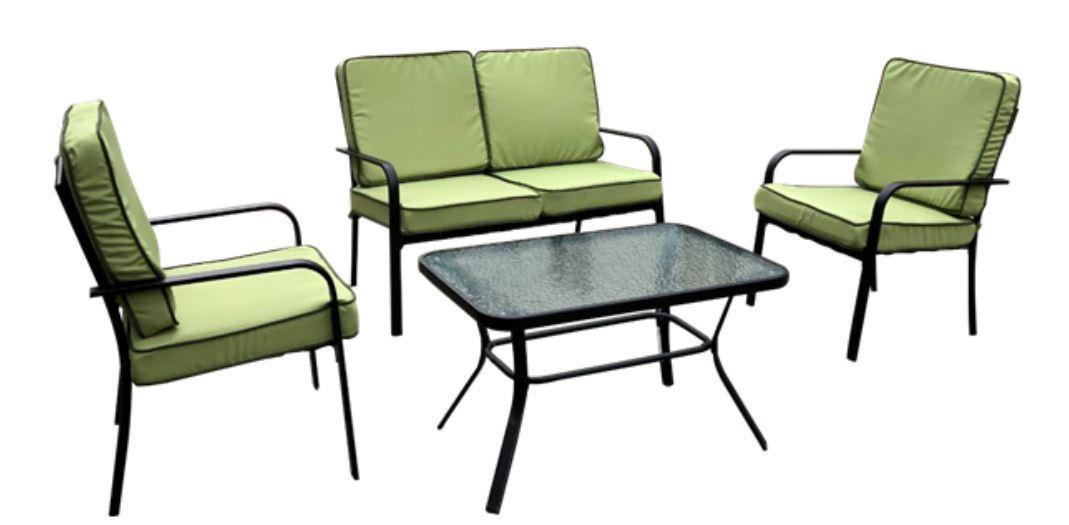 Садовый комплект Veracruz черный/салатовый (стол, диван и 2 кресла), TM AMF