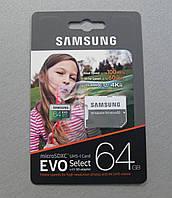 Карта памяти Samsung 64Gb microSDXC Class 10 UHS-I U3 EVO Select
