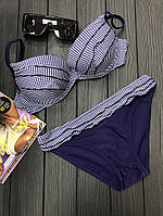 Женский раздельный купальник с рюшами, в клеточку, код ММ-0028. Темно-синий