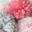 Бумажные помпоны из тишью «Coral Rose», диаметр 25 см., фото 2