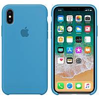 Силиконовый чехол для Apple iPhone X / XS Silicone case (Небесный)