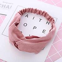 Повязка-лента на голову однотонная розовая