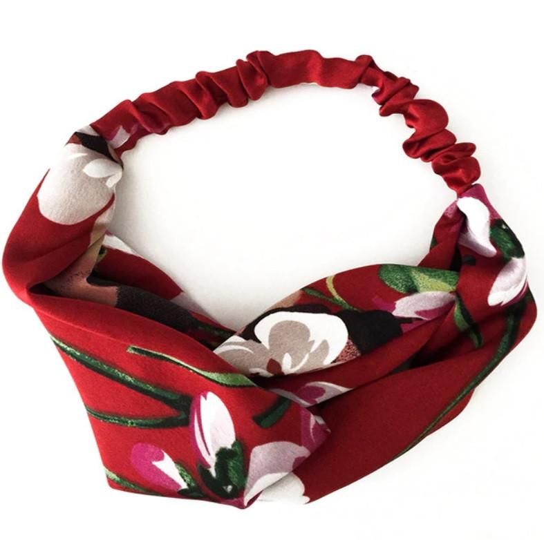 Повязка-лента на голову цветная Цветы красная