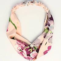 Повязка-лента на голову цветная Цветы розовая