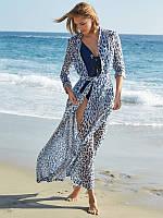 Пляжная длинная накидка с рукавами голубого цвета , фото 1