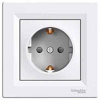 Розетка 2К+З+шторки, 16А, немецкий стандарт белая Schneider Electric Asfora