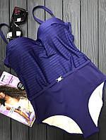 """Женский сдельный купальник """"Lux"""", батальные размеры, код ММ-0031. Темно-синий"""