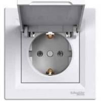 Розетка 2К+З+крышка, 16А, немецкий стандарт белая Schneider Electric Asfora