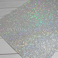 "Глиттер  на тканевой основе,  ""Чешуя"" , 30 х 20 см, цвет серебро хамелеон (голограмма)"