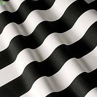 Ткань для штор, мебели, подушек и декора в черно-белую полоску с тефлоном 82600v7