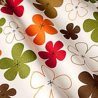 Декоративная ткань разноцветные цветы коричневого оранжевого красного и зеленого цвет с тефлоном 81558v19