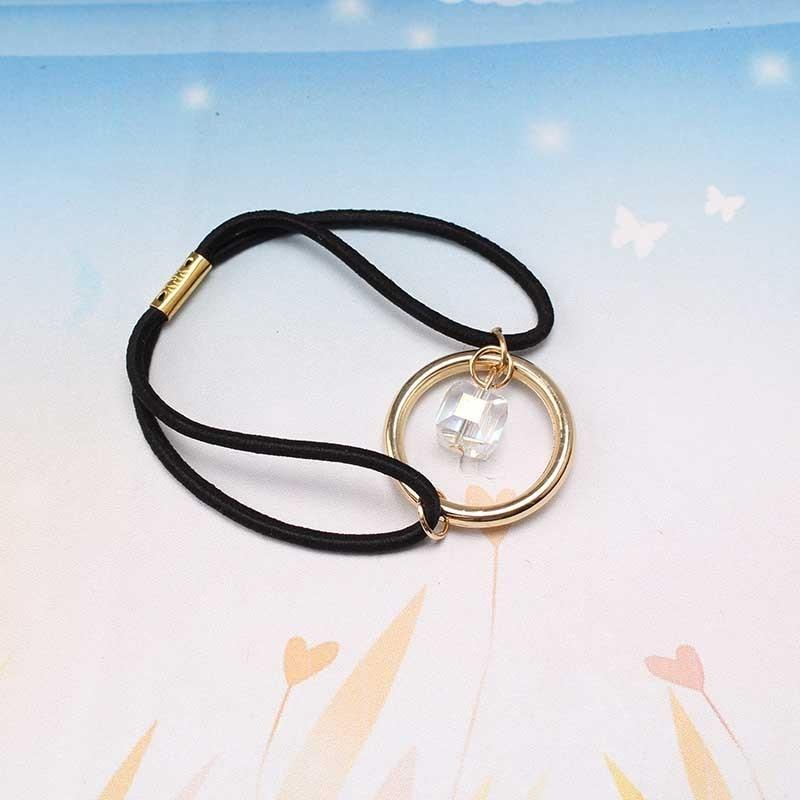 Резинка для волос с кольцом и кристаллом