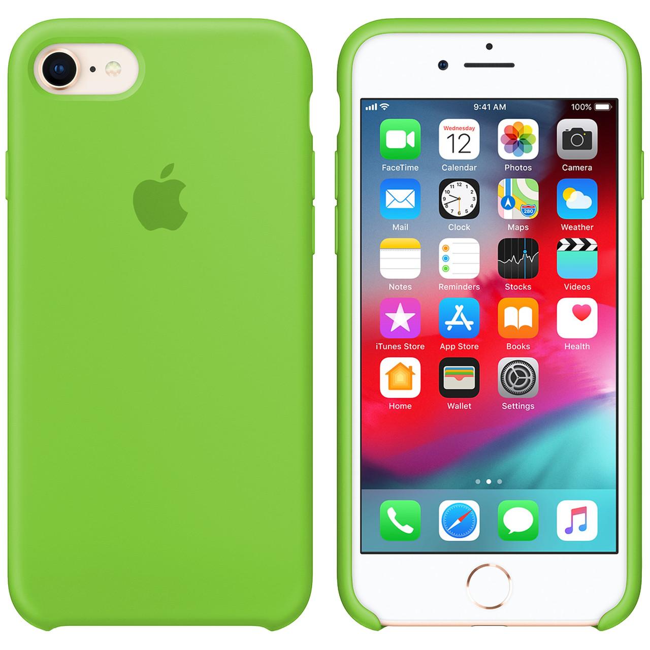 Силиконовый чехол для Apple iPhone 7 / 8 Silicone case (Кислотно-зеленый)
