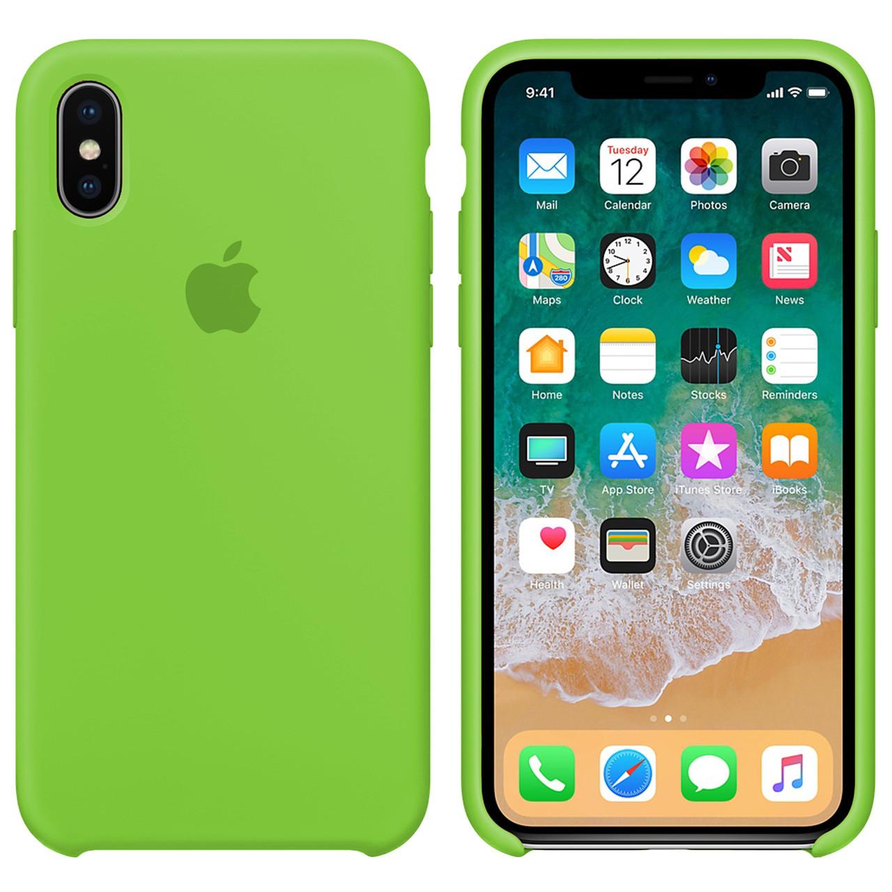 Силиконовый чехол для Apple iPhone XR Silicone case (Кислотно-зеленый)