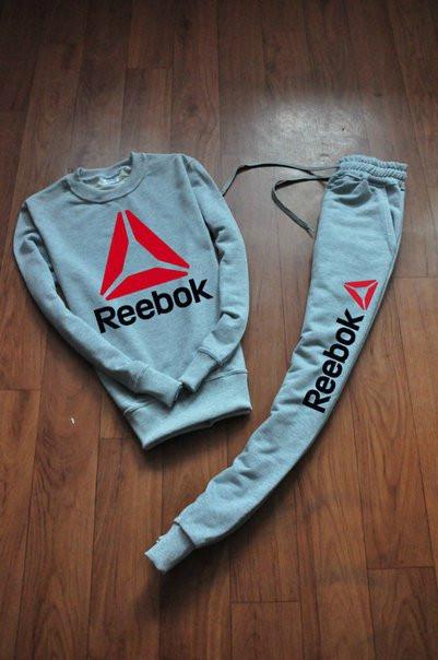 Серый мужской Зимний тренировочный костюм Reebok(Рибок)