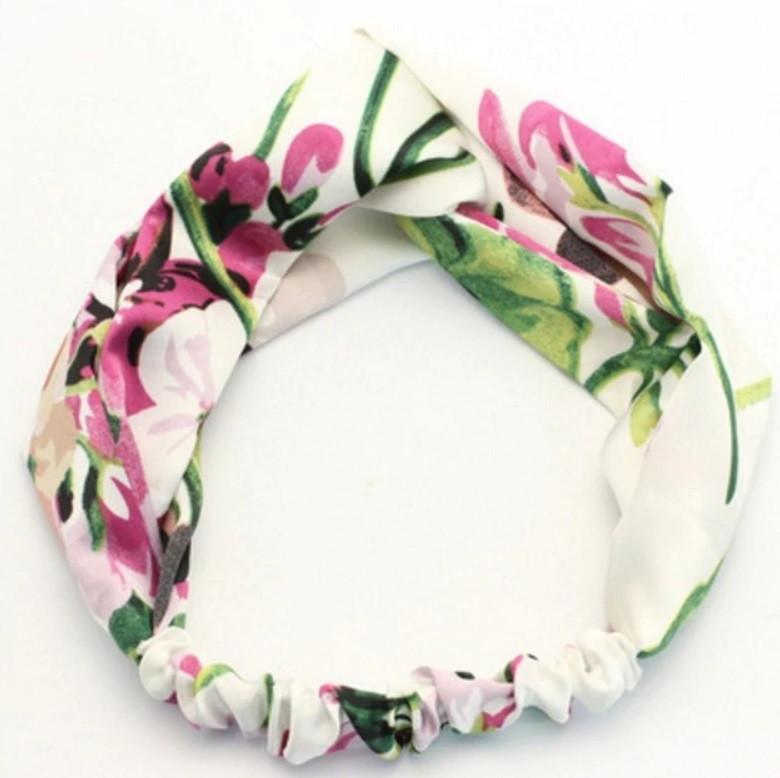 Повязка-лента на голову цветная Цветы белая