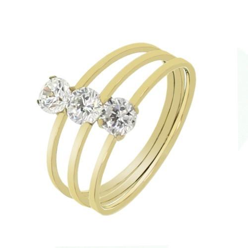 Женское кольцо из медицинской стали и кристаллов 129741