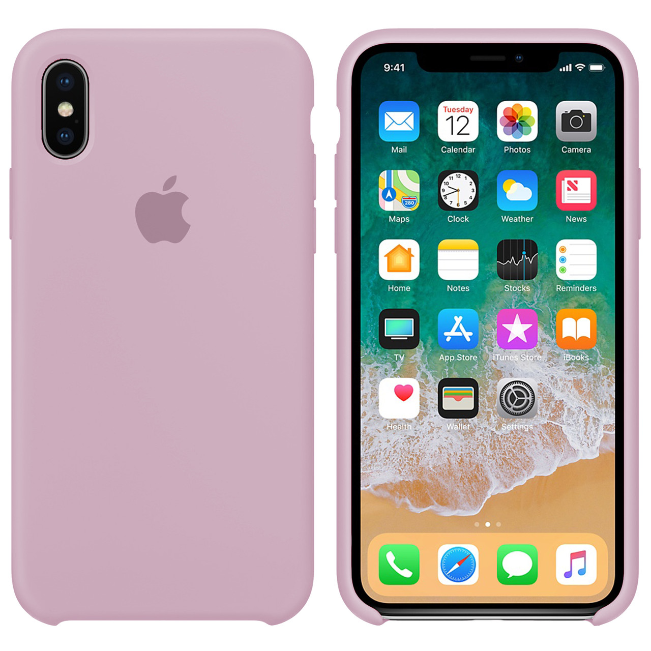 Силиконовый чехол для Apple iPhone XS Max Silicone case (Пудра)