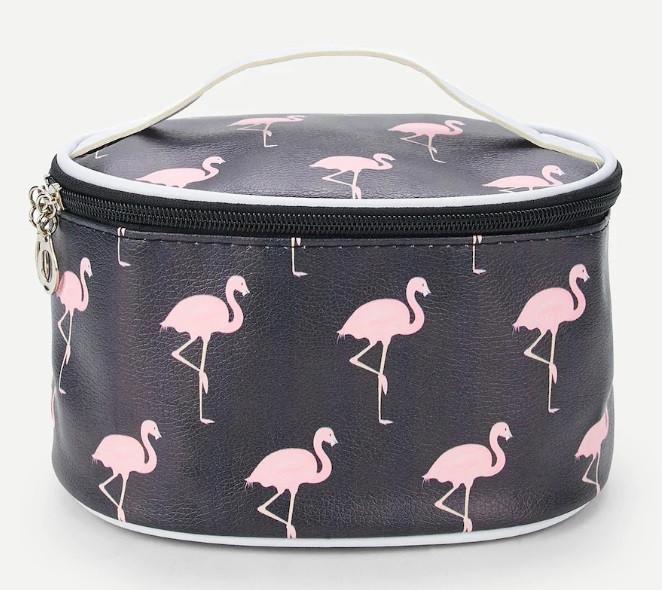 Косметичка овальная с зеркалом Фламинго Черная