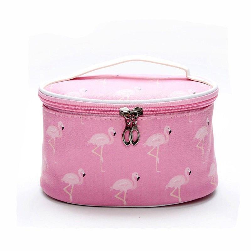 Косметичка овальная с зеркалом Фламинго Розовая