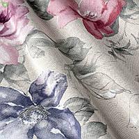 Декоративная ткань с крупными разноцветными цветами на серебряном фоне Испания 82572v2