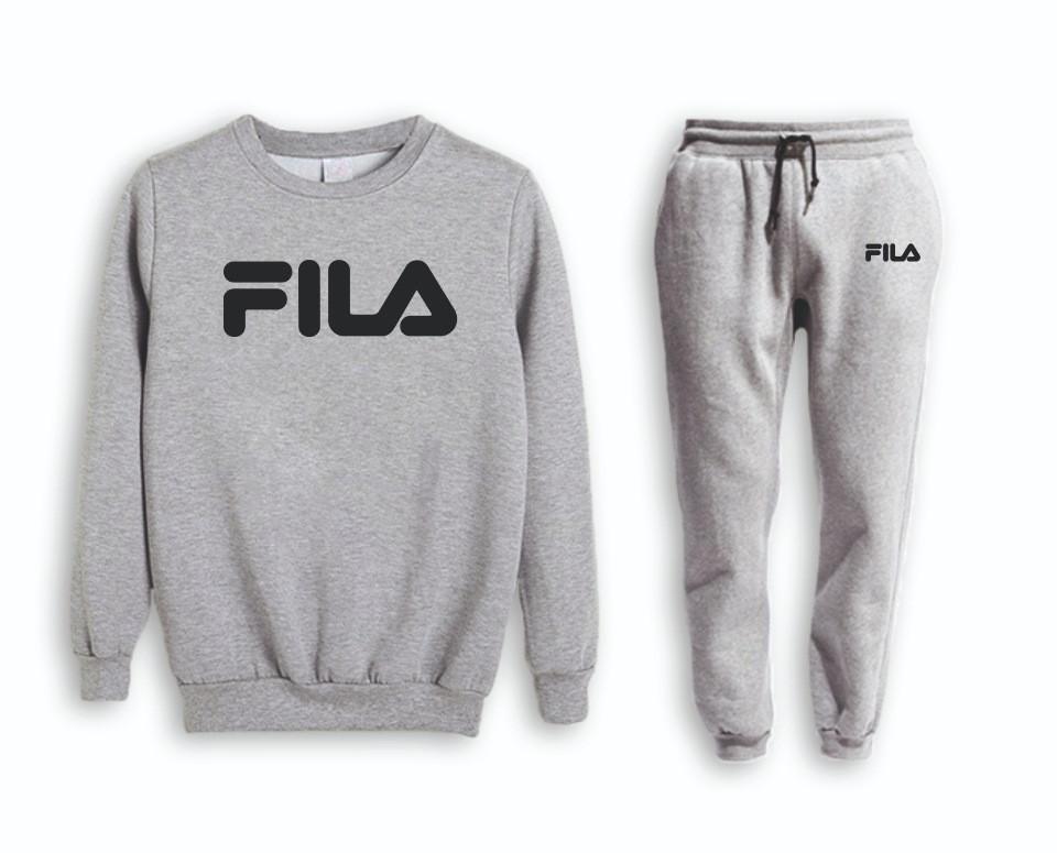 Серый мужской Зимний тренировочный костюм на манжете Fila (Фила)