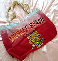 Сумка пляжная градиент с совой, фото 1