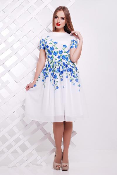 d6f6b6b5d28f038 Купить Нарядное белое платье с синими цветами короткий рукав р.42-46 ...