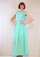 Модное красивое летнее длинное платье шифоновое с гипюром, р. 42-50, фото 2
