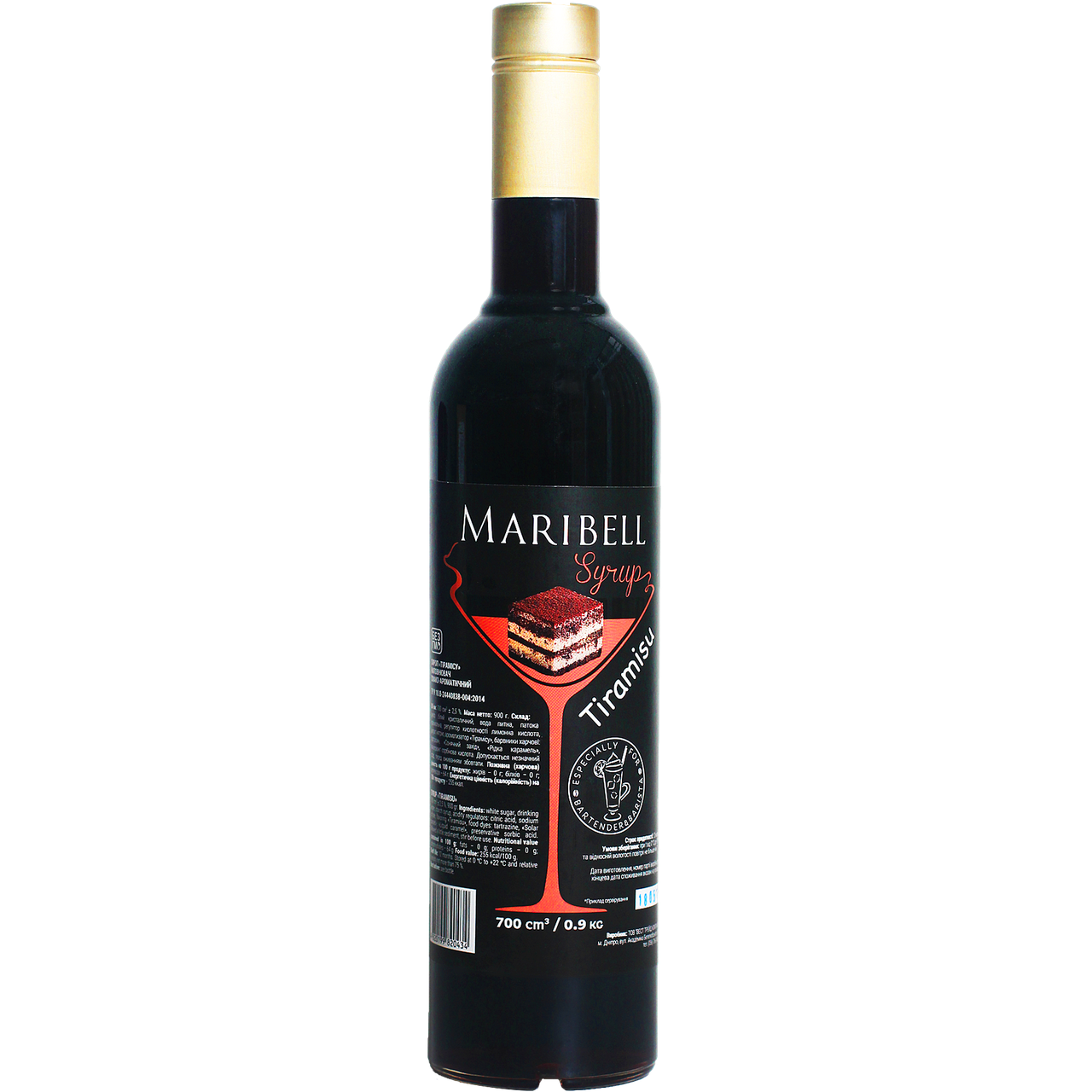 """Сироп коктейльный Maribell """"Тирамису"""" 700мл"""