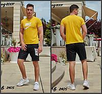 Мужской летний спортивный костюм Nike футболка+шорты турецкая двухнить+коттон стрейч размеры:48,50,52,54