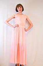 Модное красивое летнее длинное платье шифоновое с гипюром, р. 42-50, фото 3