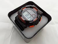 Часы мужские S-Sport - черные с оранжевым в  тубусе, 30m