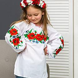 Детская блуза вышиванка Маки от 8 до 16