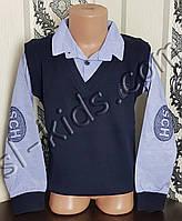 Рубашка-обманка для мальчика 128-158 см (голубая) опт (пр. Турция)