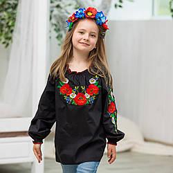 Черная блуза вышиванка Маки