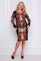 Женское черное платье футляр с крсивым цветочным принтом Jewelry rose, большие размеры Алика-Б д/р