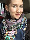 Майя 372-15, павлопосадский платок (шаль) из уплотненной шерсти с шелковой вязанной бахромой, фото 6