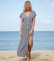 Женское летнее пляжное платье в синюю полоску опт