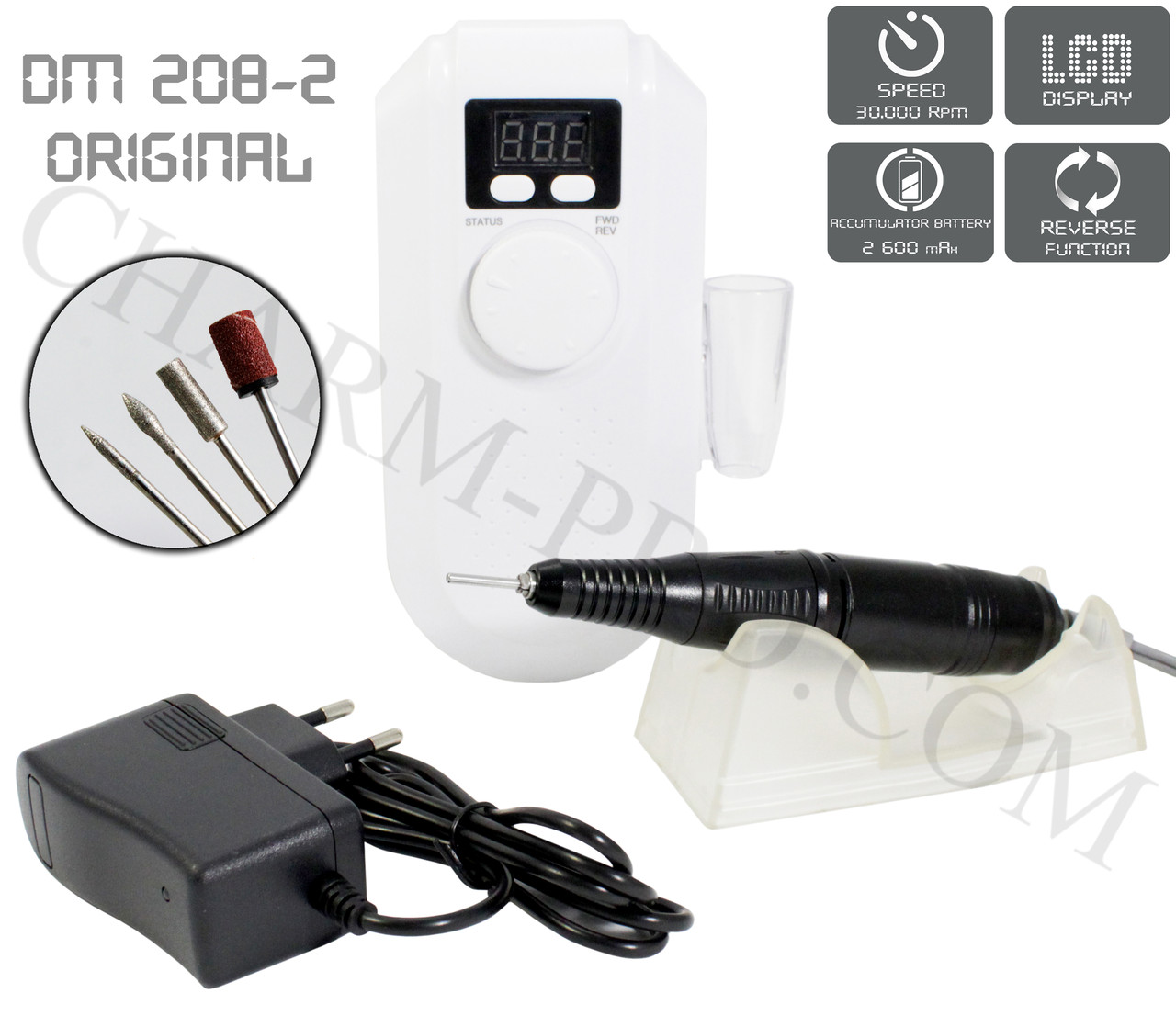 Фрезер для маникюра и педикюра с LCD дисплеем DM-208-2 (30000 об/мин)