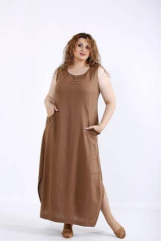 Платье-сарафан женское летнее лен, размер:42-74, фото 2