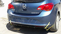 Накладка на задний диффузор (ABS, Черная) Opel Astra J 2010↗ гг.
