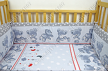 """Детское постельное белье в кроватку """"Карапуз"""" комплект 7 ед. Мишка подушка серый, фото 2"""