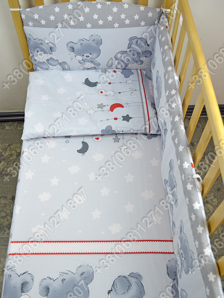 """Детское постельное белье в кроватку """"Карапуз"""" комплект 7 ед. Мишка подушка серый"""