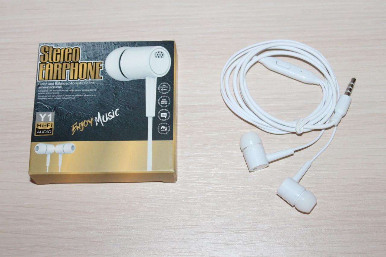 Наушники с микрофоном Enjoy Music Y1 White