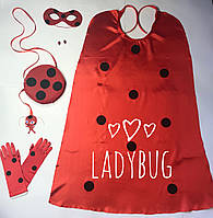 Леди Баг набор: маска сережки перчатки сумочка квами плащ, фото 1