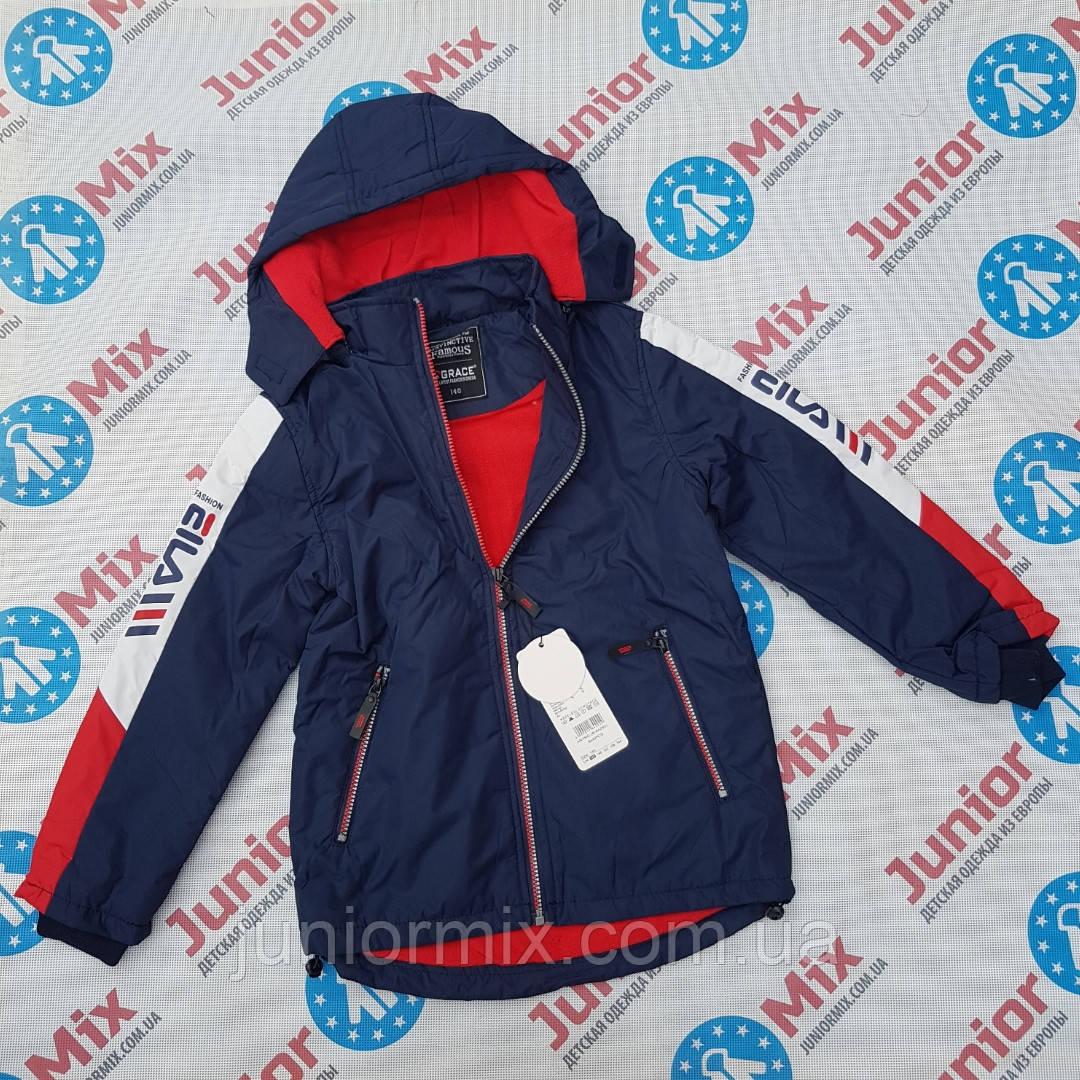 Подростковые демисезонные  куртки для мальчиков на флисе  оптом GRACE